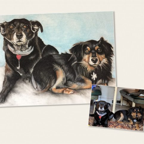Custom Pet Portrait from your Photo, 2 or more pets. Hand Drawn on Cold-Pressed Watercolor Paper