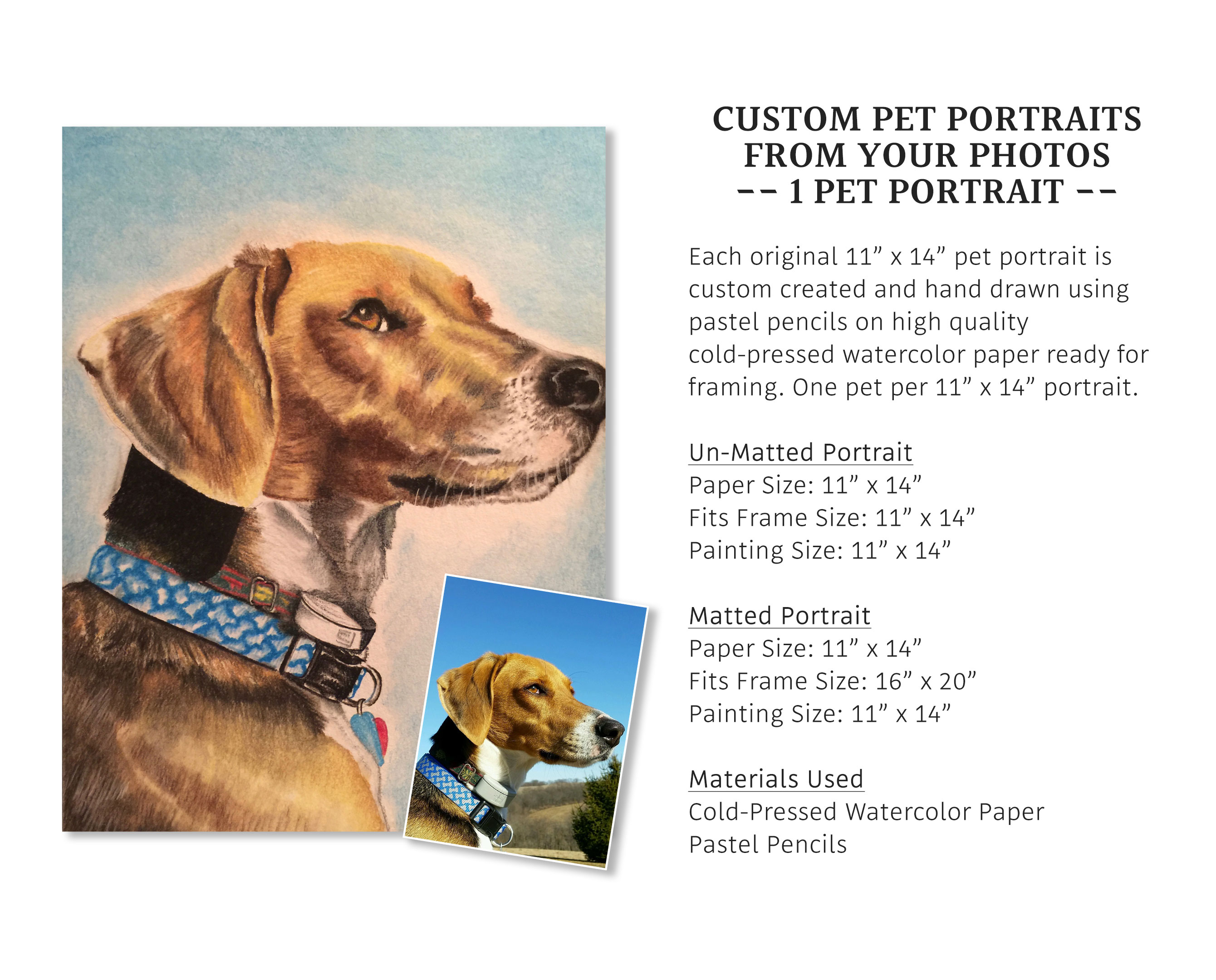Custom Pet Portrait from your Photo, 1 Pet - un-Matted - Ink & Byte