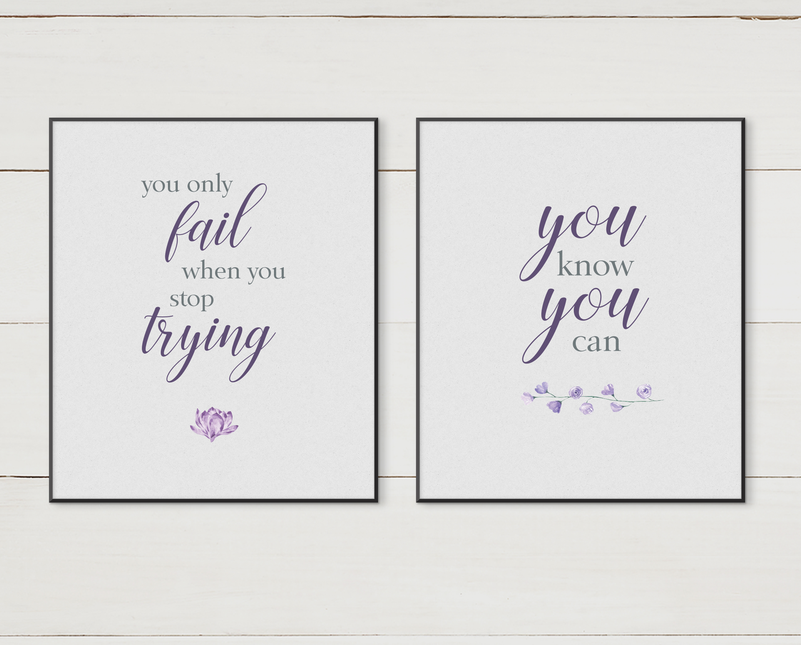 Purple Floral Inspirational Quotes Set Of 8 Ink Byte